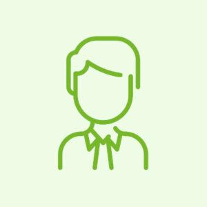 Na obrazku widnieje ciemno-zielona ikona centrum. Awatar przedstawia zarys popiersia sylwetki mężczyzny. Tło ikony jest w jasno-zielonego koloru.