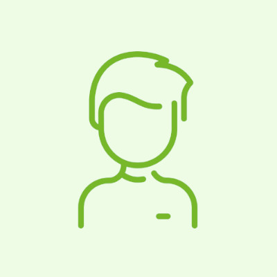 Na obrazku widnieje ciemno-zielona ikona prezentująca sylwetkę popiersia mężczyzny/ chłopca. Tło jest w kolorze jasno-zielonym.
