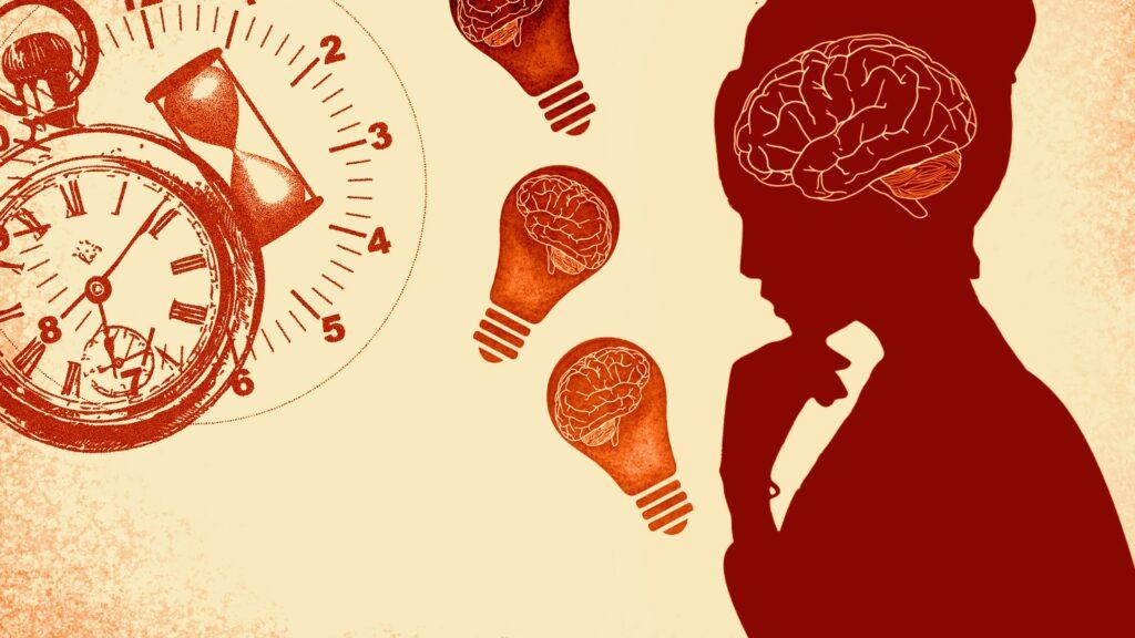 Z prawej strony obrazka widać czerwone kontury kobiety. Po lewej stronie znajduje się zegar, klepsydra oraz tarcza sekundnika w pomarańczowych kolorach. Na srodku są trzy żarówki w których widać mózg.